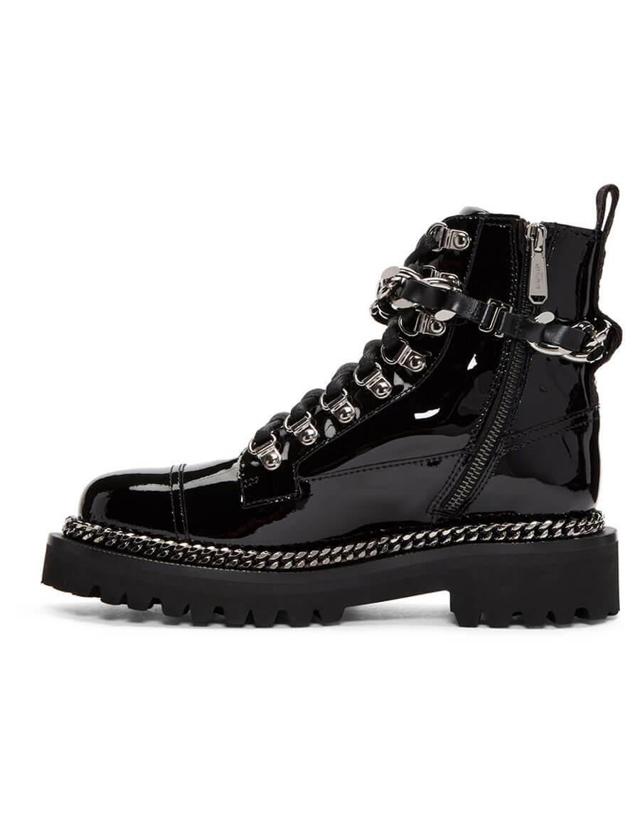 BALMAIN Black Chain Army Boots