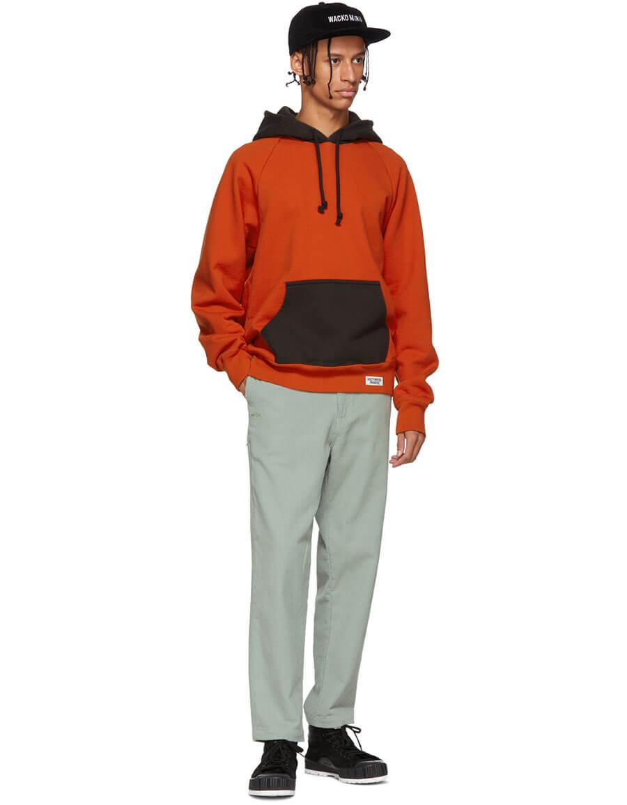 WACKO MARIA Orange & Grey Washed Heavy Weight Hoodie