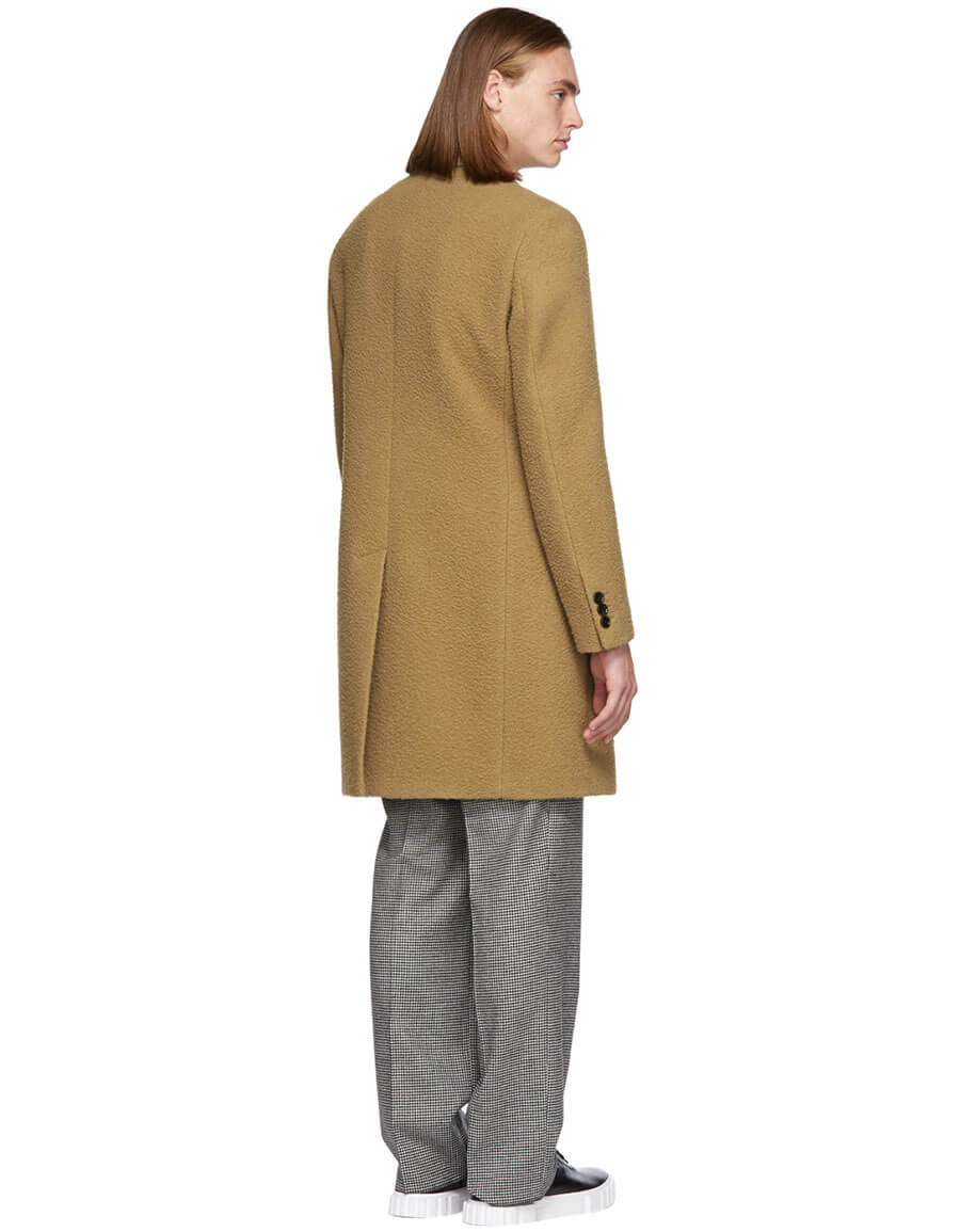 BOSS Tan Camel Double Breasted Coat
