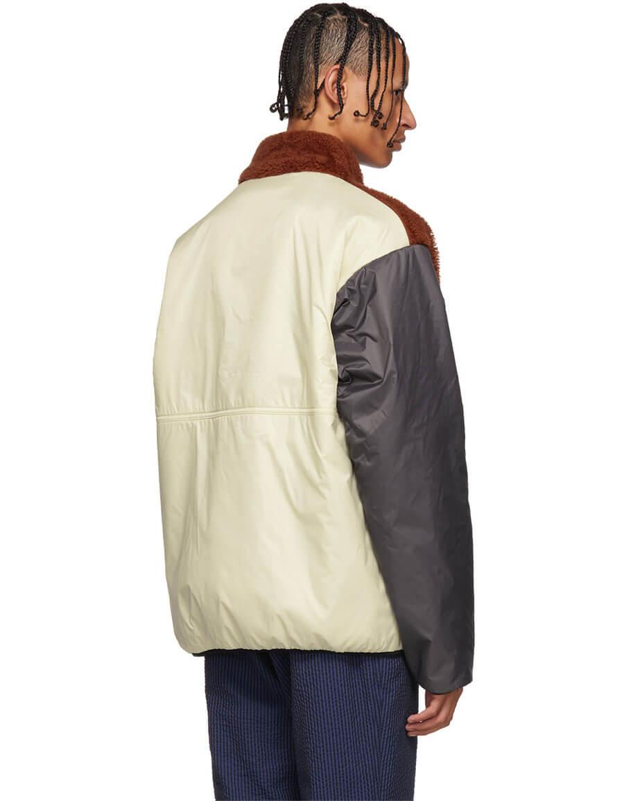 MARNI Off White & Grey Shearling Jacket