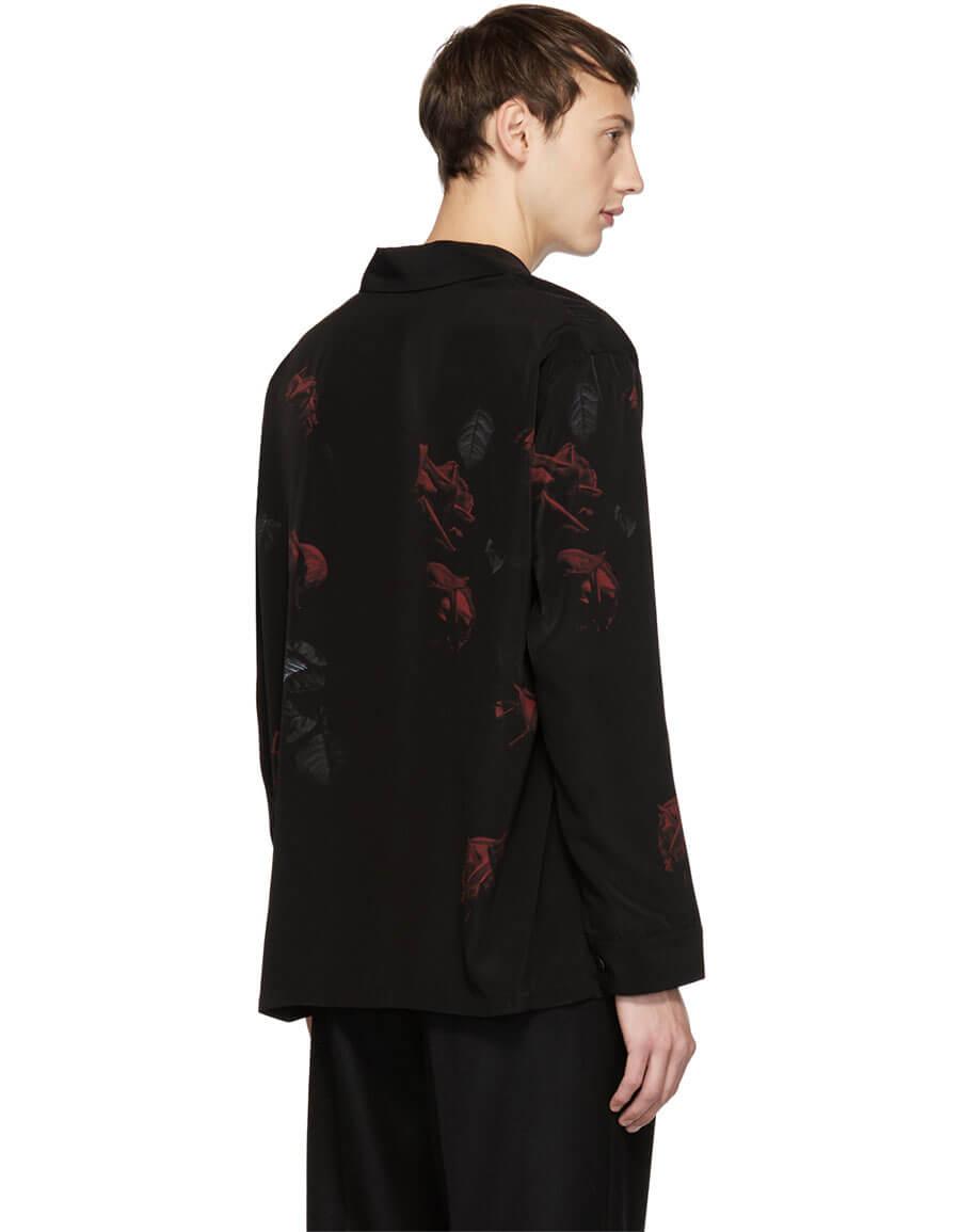LAD MUSICIAN Black & Red Rose Pyjama Shirt