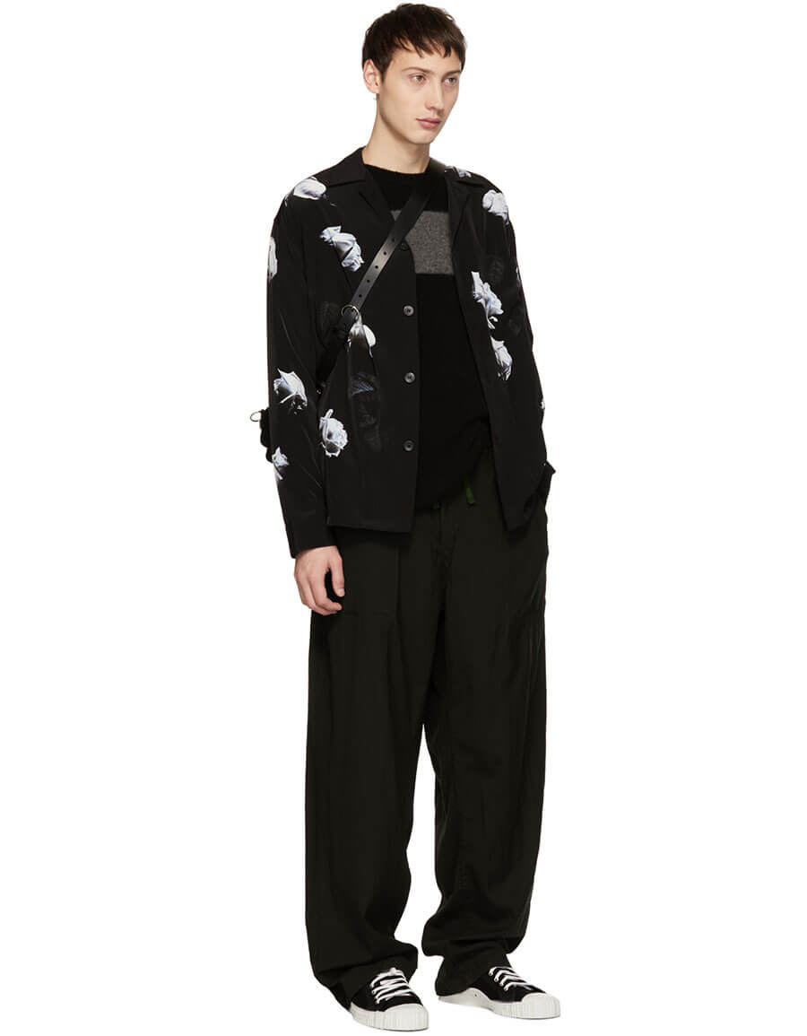 LAD MUSICIAN Black & White Rose Pyjama Shirt