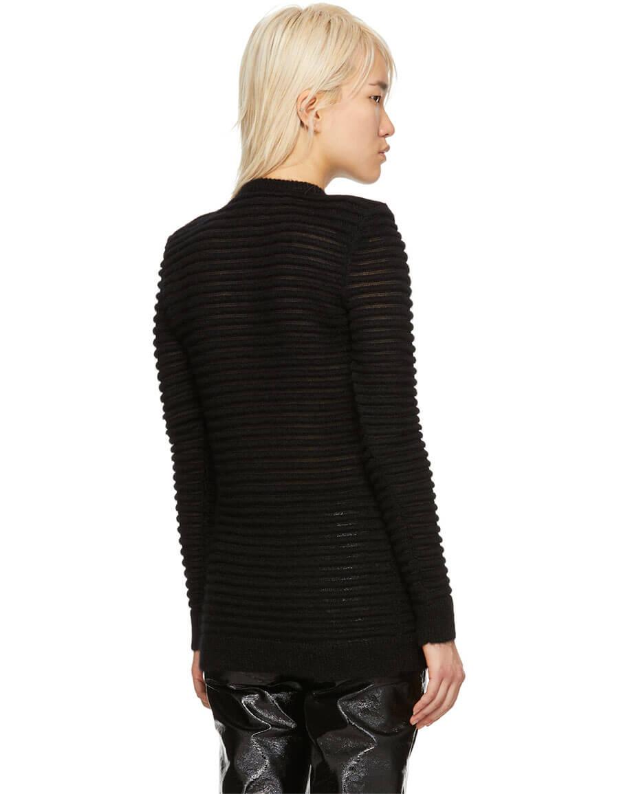 BALMAIN Black Mohair Ribbed Sweater