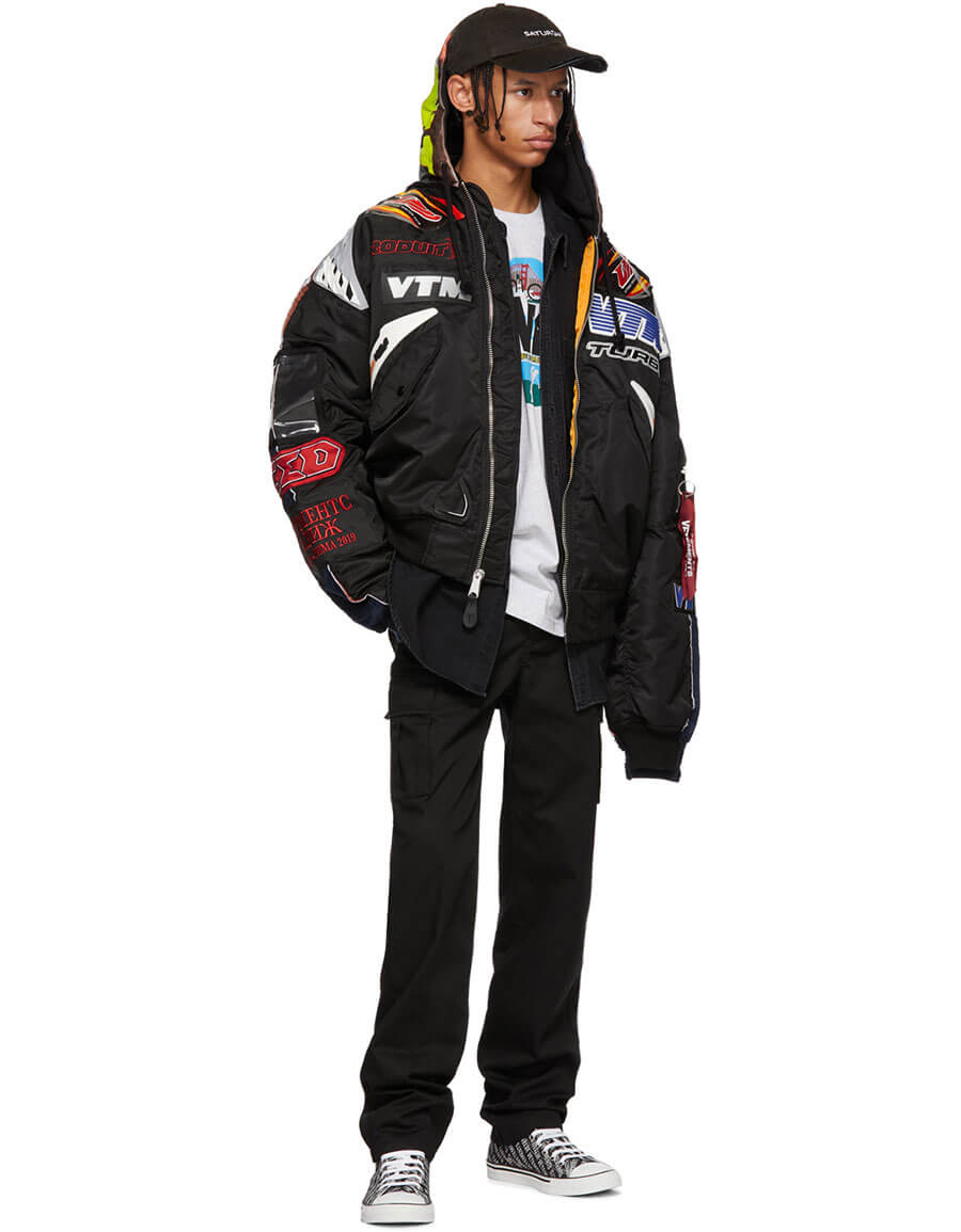 VETEMENTS Black & Navy Alpha Industries Edition Racing Bomber Jacket