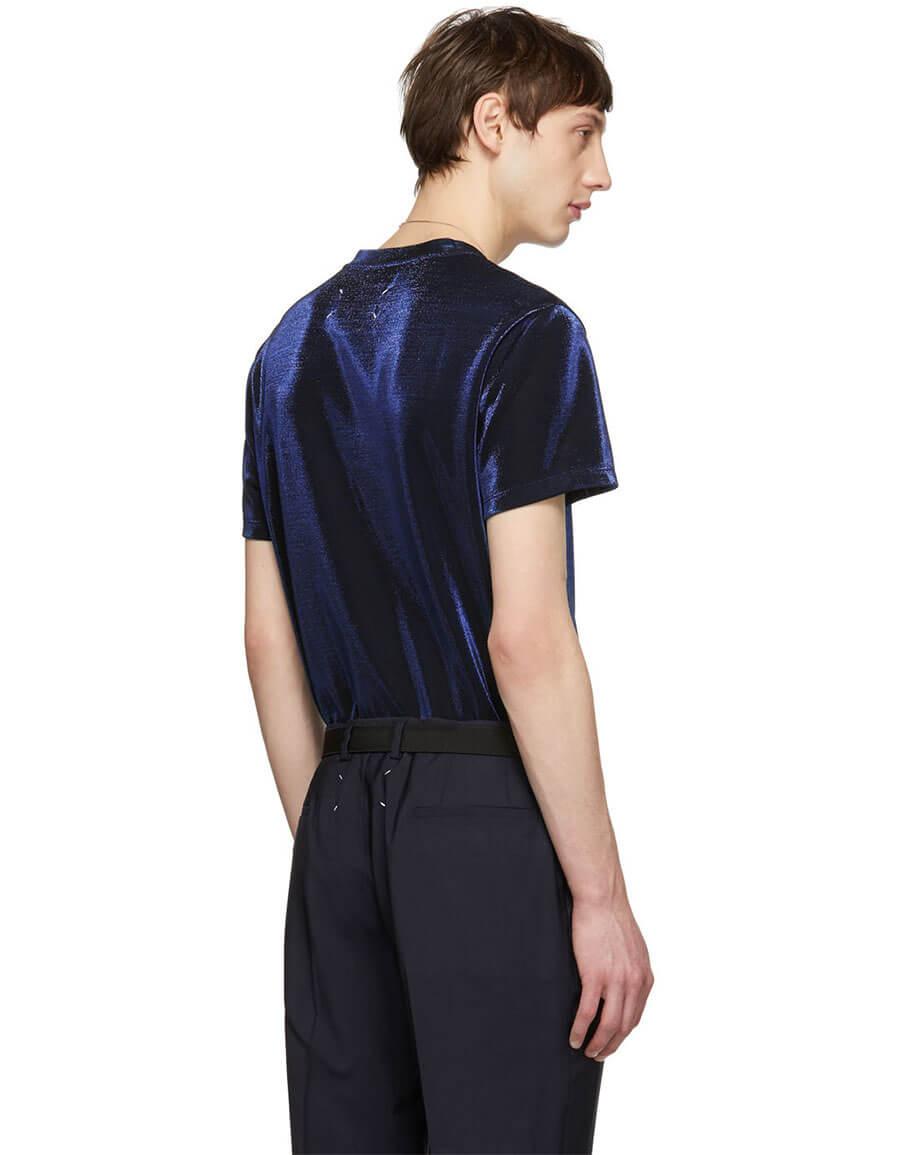 MAISON MARGIELA Navy Lurex T Shirt