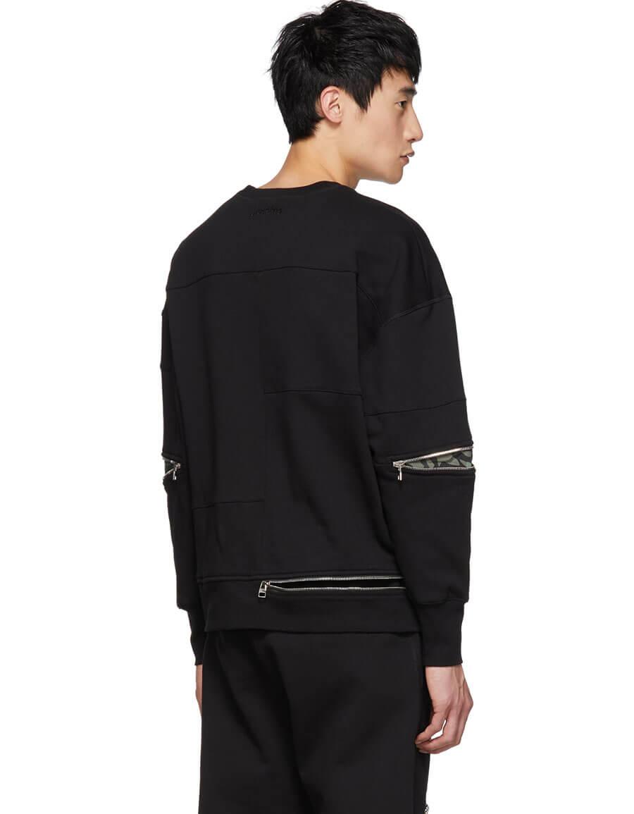 ALEXANDER MCQUEEN Black Zip Sweatshirt
