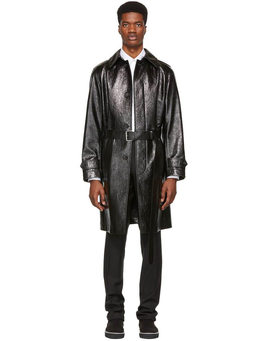 ALEXANDER MCQUEEN Black Shiny Leather Trench Coat