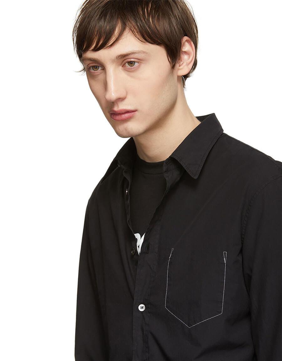 MAISON MARGIELA Black Garment Dyed Slim Shirt