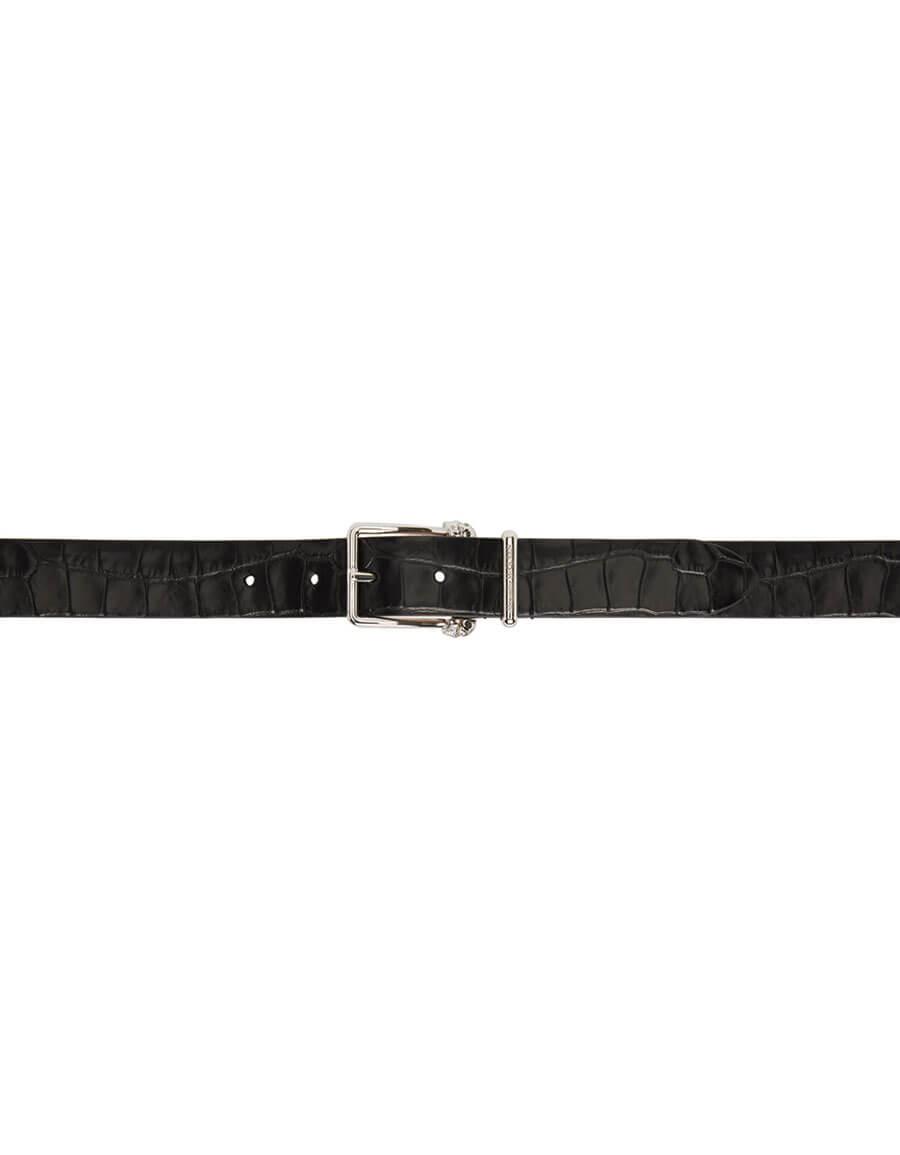 ALEXANDER MCQUEEN Black Croc Twin Skull Belt
