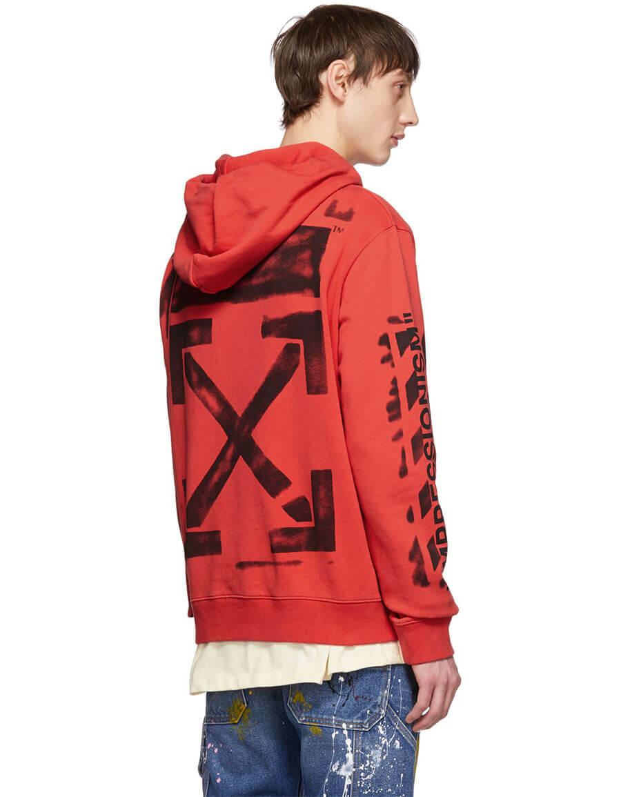 OFF WHITE Red Slim Stencil Hoodie