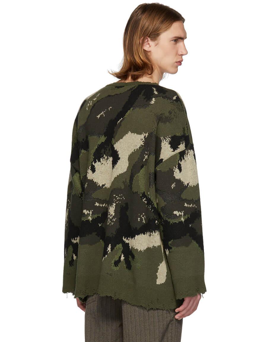 VALENTINO Green Camo Sweater