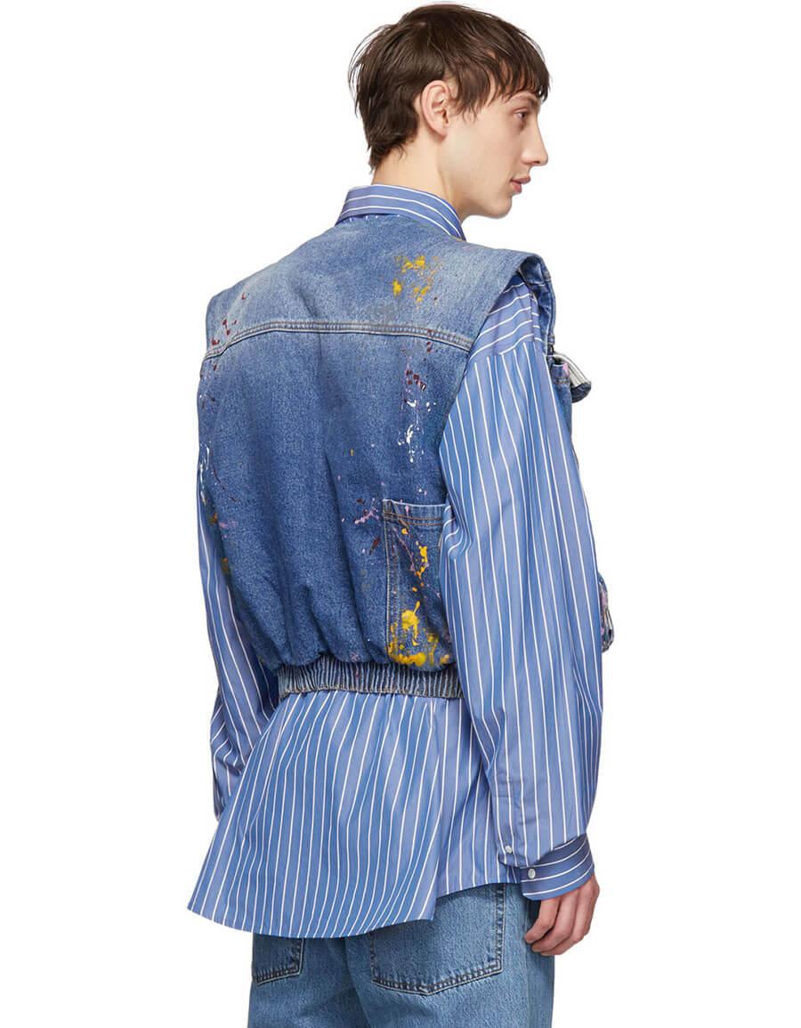OFF WHITE Blue Vintage Paint Vest