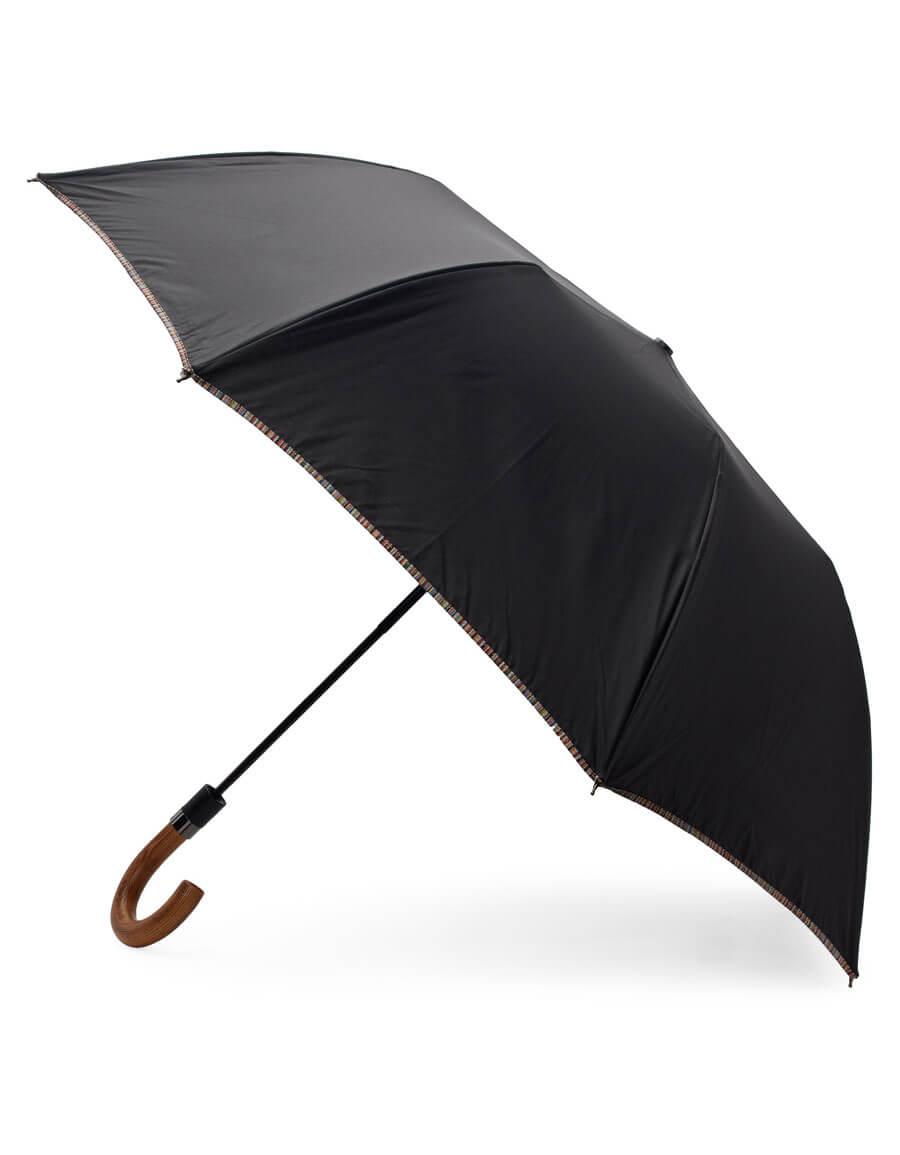 PAUL SMITH Black Multi Stripe Crook Umbrella