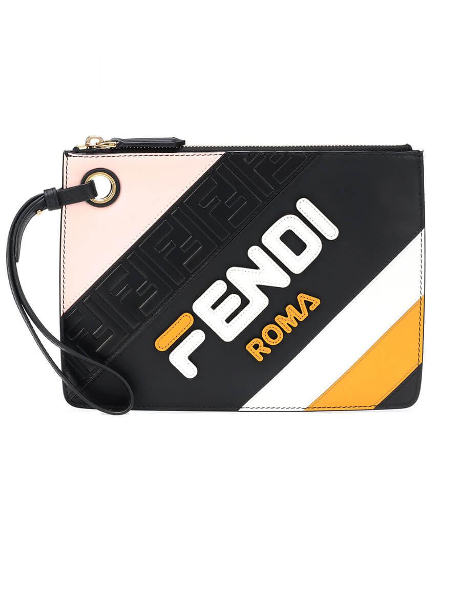FENDI FENDI MANIA Triplette leather clutch