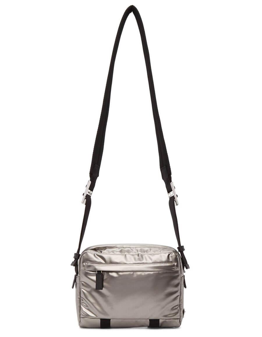 PRADA Silver Metallic Messenger Bag