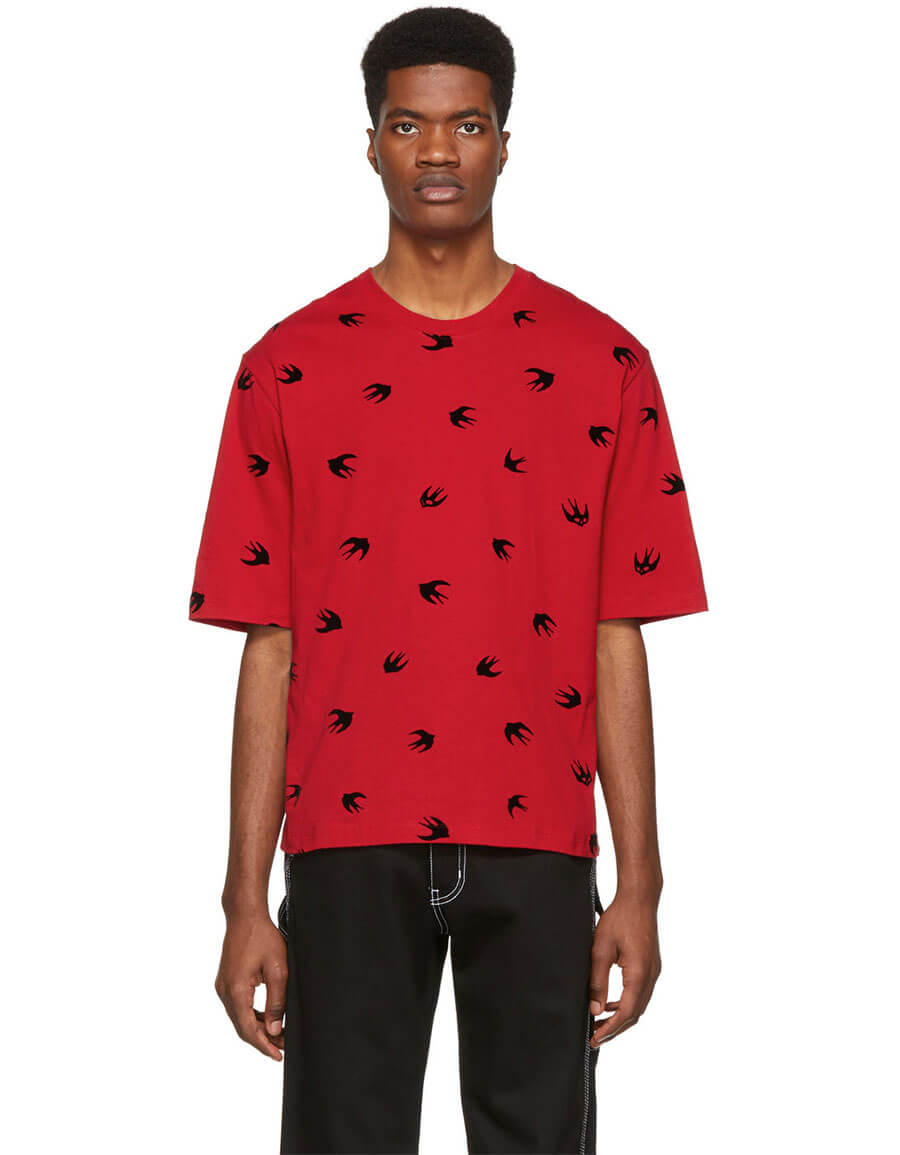 ALEXANDER MCQUEEN Red Mini Swallow T Shirt