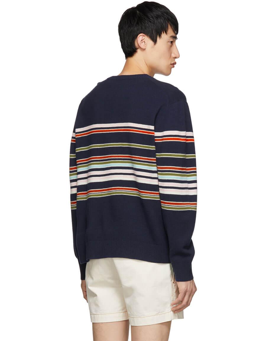 SIES MARJAN Navy Cashmere Striped Vin Sweater