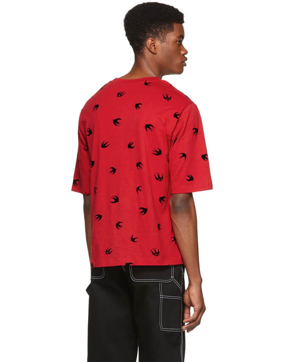 ALEXANDER MCQUEEN Red Mini Swallow T Shirt