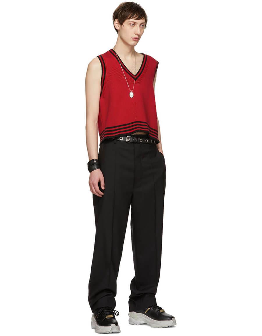 MAISON MARGIELA Black Wool Fireman Trousers