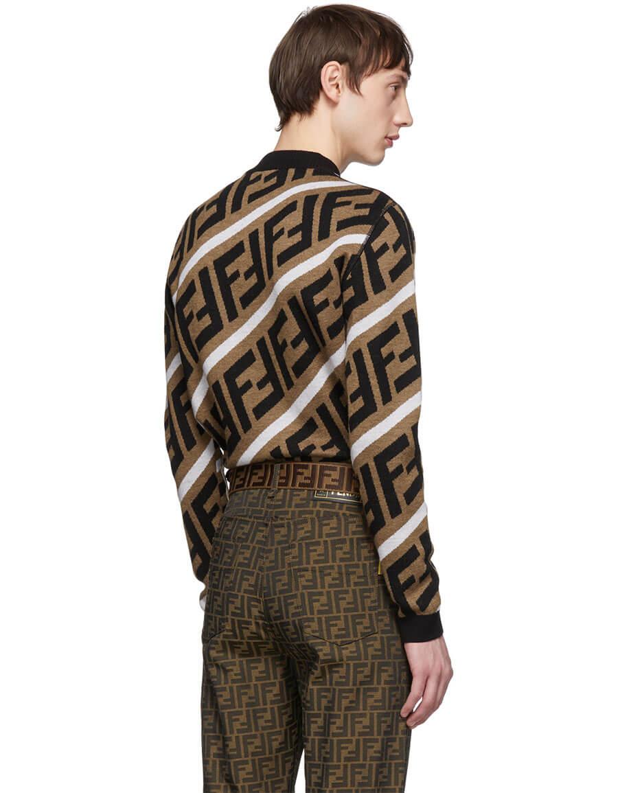 FENDI Brown Wool 'Forever Fendi' Sweater