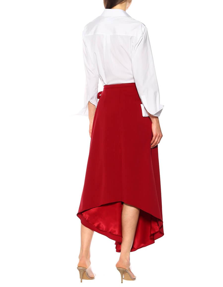 Y/PROJECT Stretch wool asymmetric midi skirt