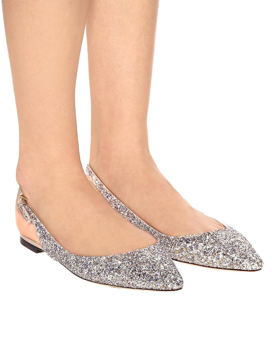 JIMMY CHOO Erin glitter slingback ballet flats