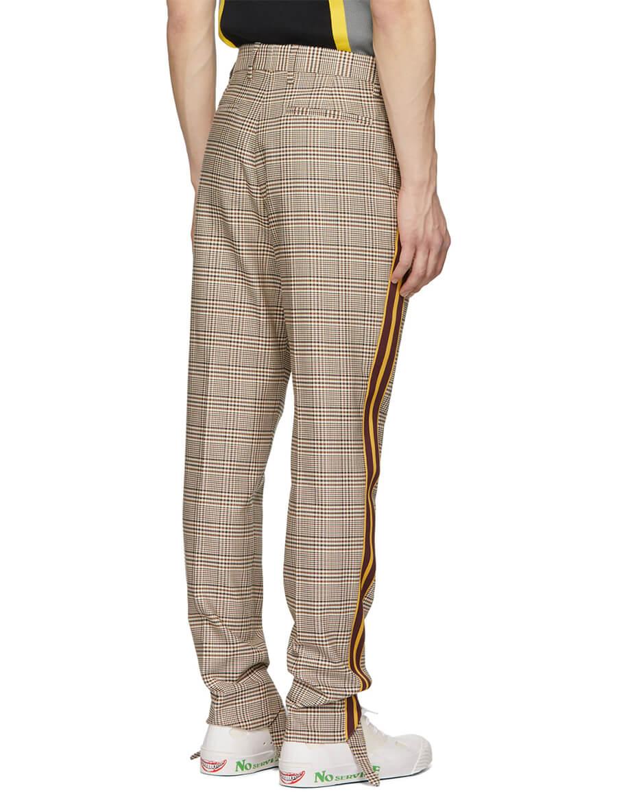 STELLA MCCARTNEY Brown Checked Side Stripe Trousers