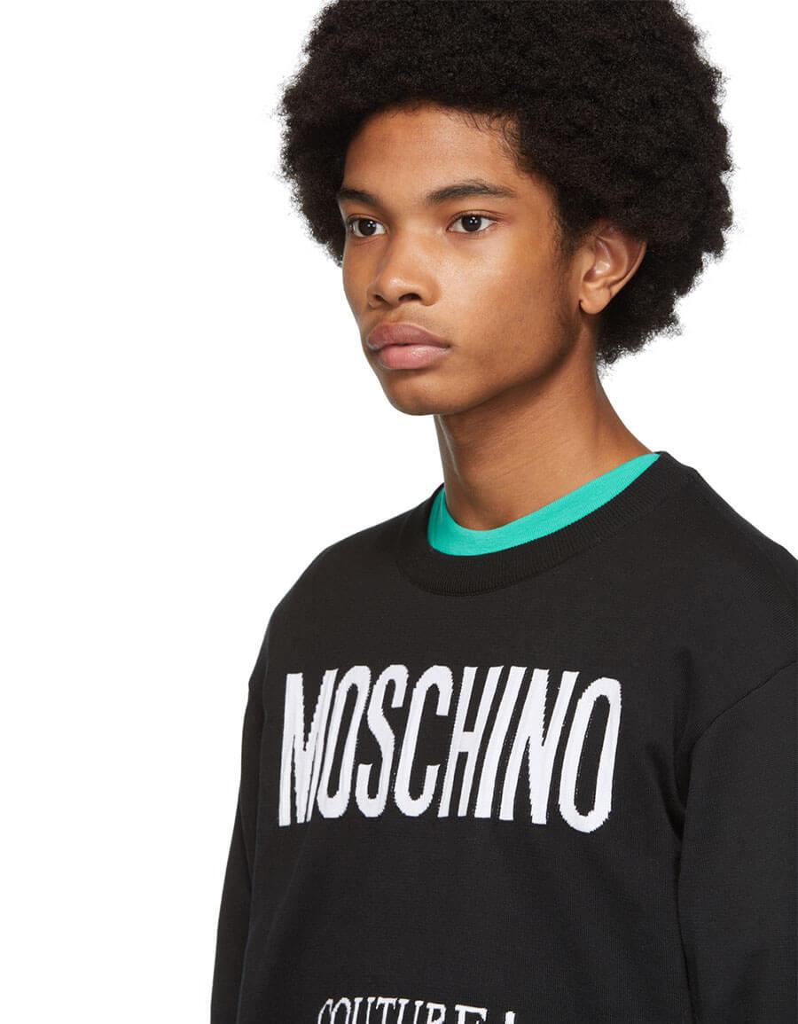 MOSCHINO Black Jacquard 'Couture!' Sweater