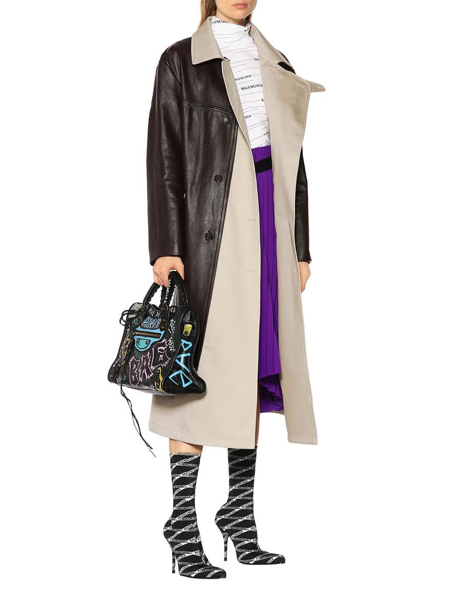 BALENCIAGA Leather and canvas coat