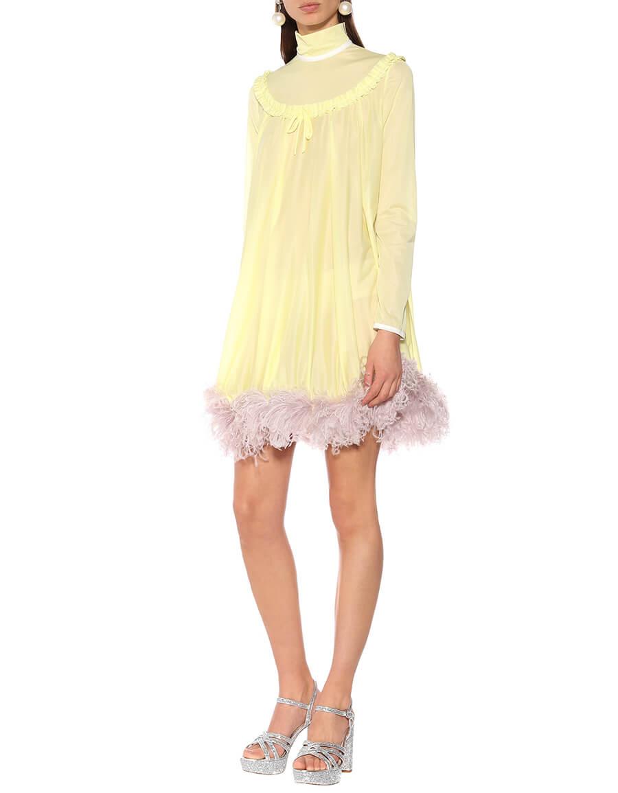 MIU MIU Feather trimmed dress