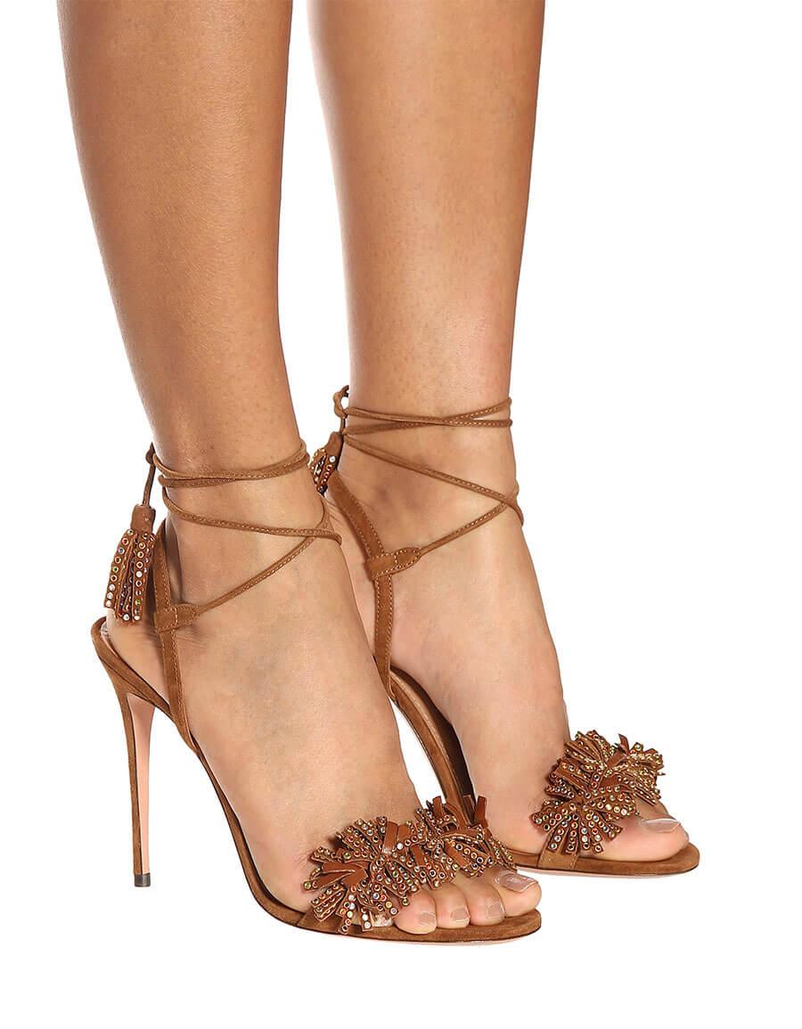 5b15bb543 AQUAZZURA Wild Crystal 105 leather sandals · VERGLE