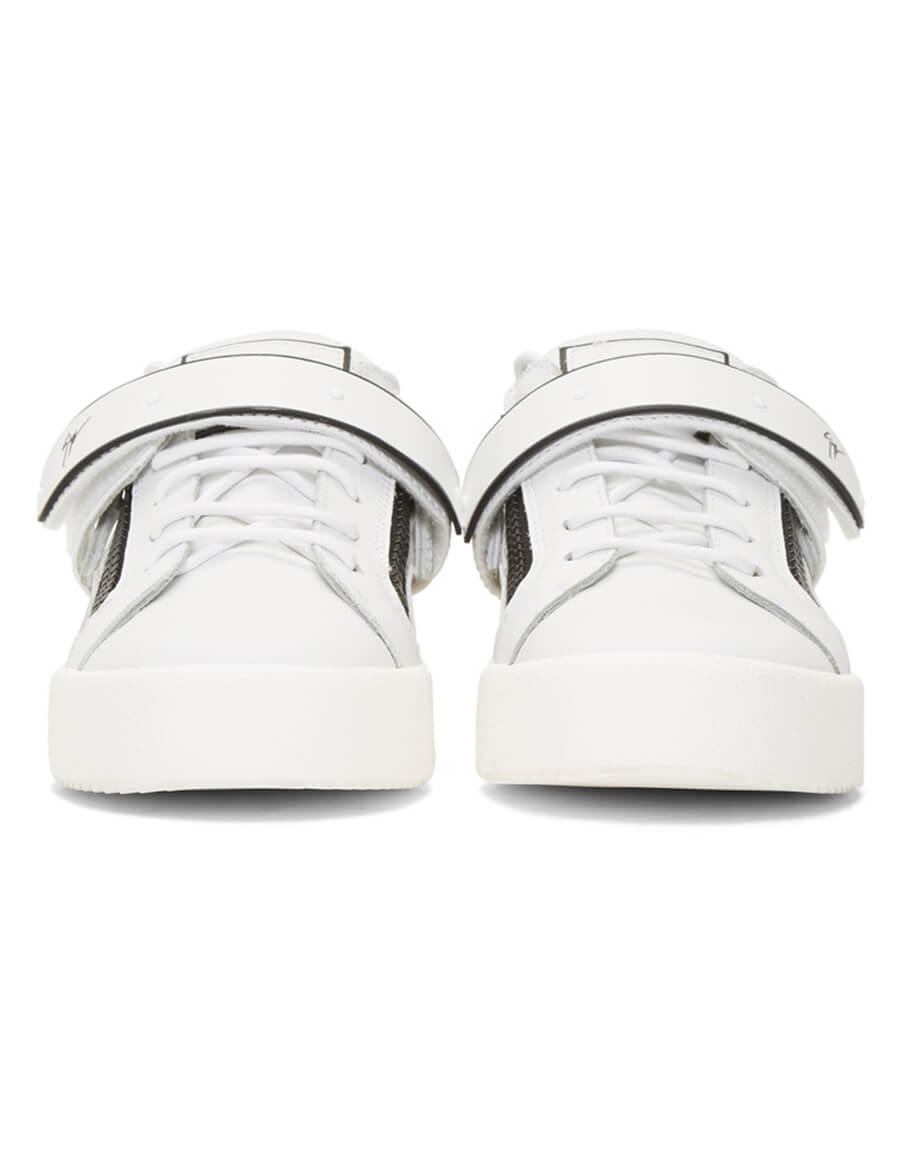 0751164693678 GIUSEPPE ZANOTTI White & Black Frankie 1/2 Sneakers · VERGLE