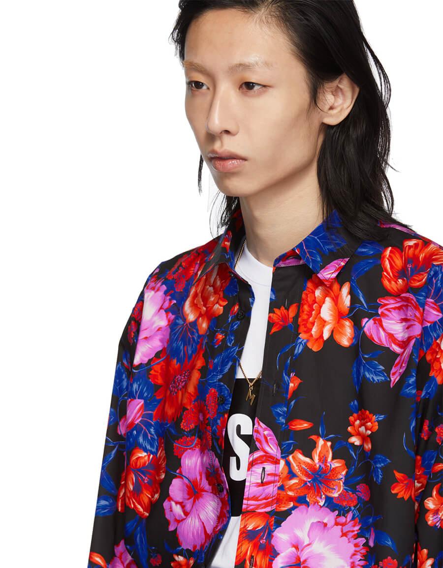 MSGM Black Floral Print Shirt