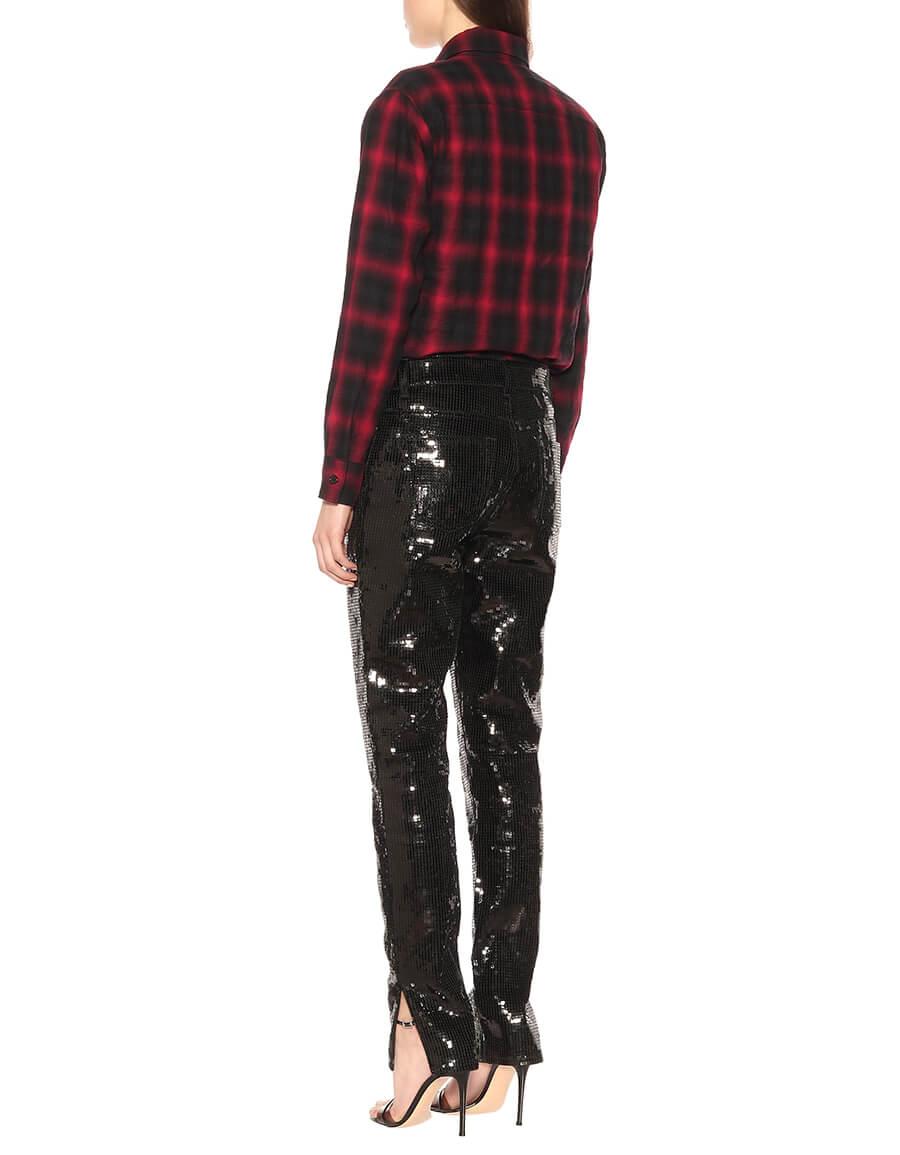 SAINT LAURENT Sequinned cotton blend pants