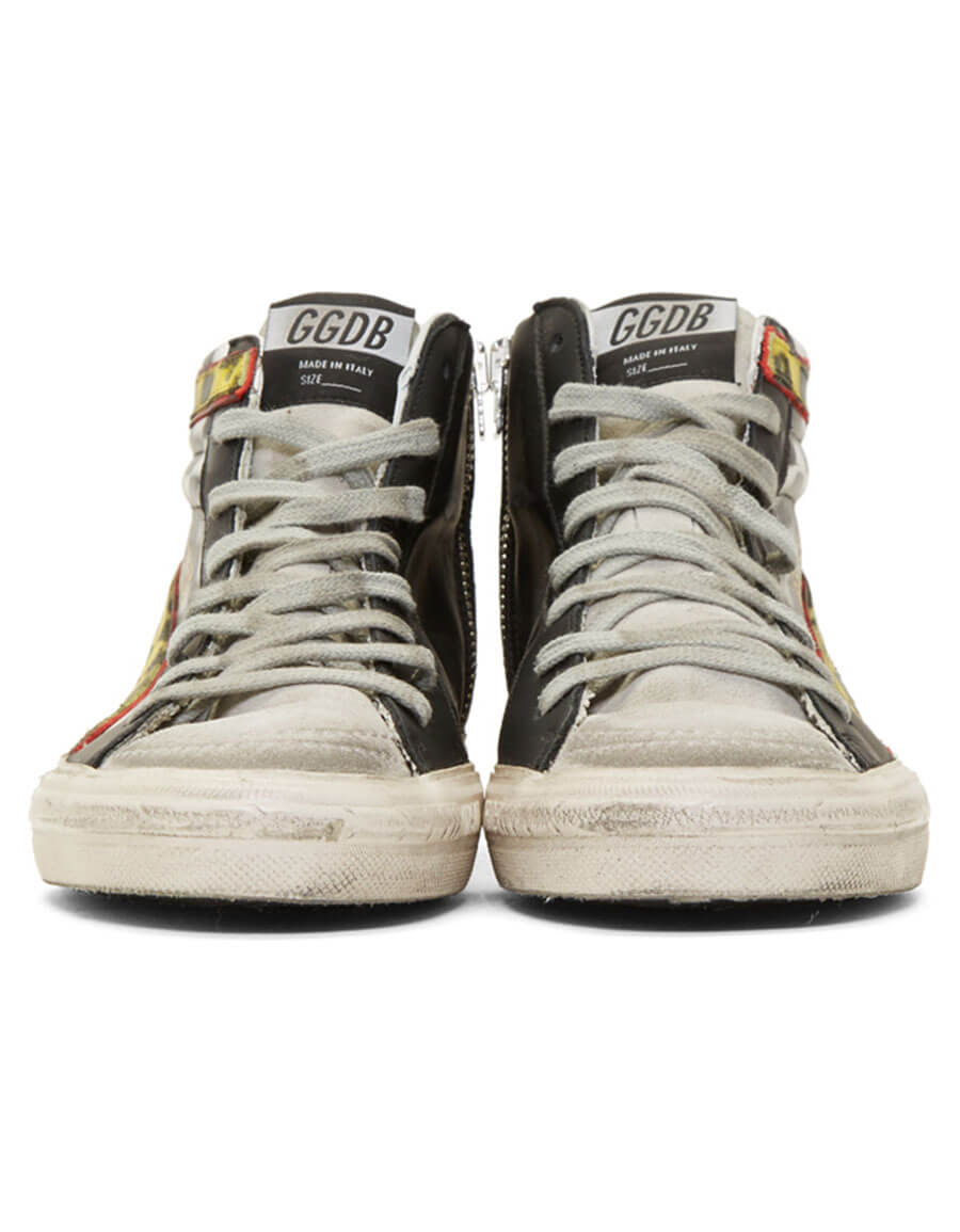GOLDEN GOOSE White & Black Grand Prix Sneakers