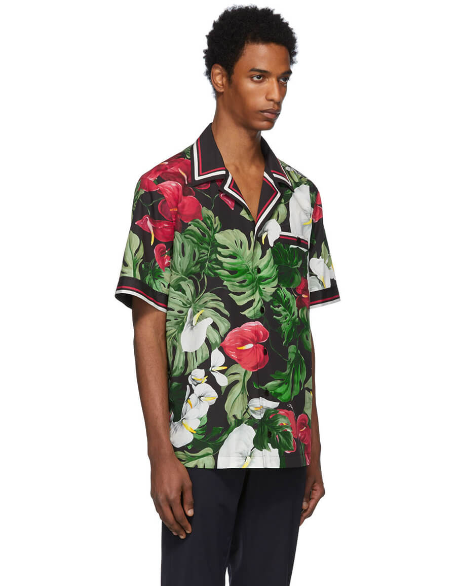 DOLCE & GABBANA Black & Green Anthurium Hawaiian Shirt