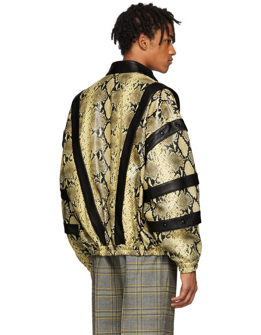 GUCCI Yellow & Black Faux Python Bomber Jacket