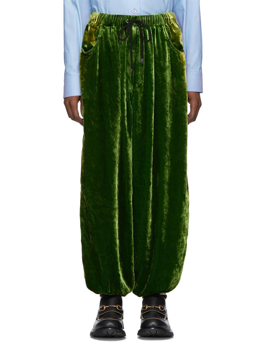 GUCCI Green Crushed Velvet & Silk Lounge Pants