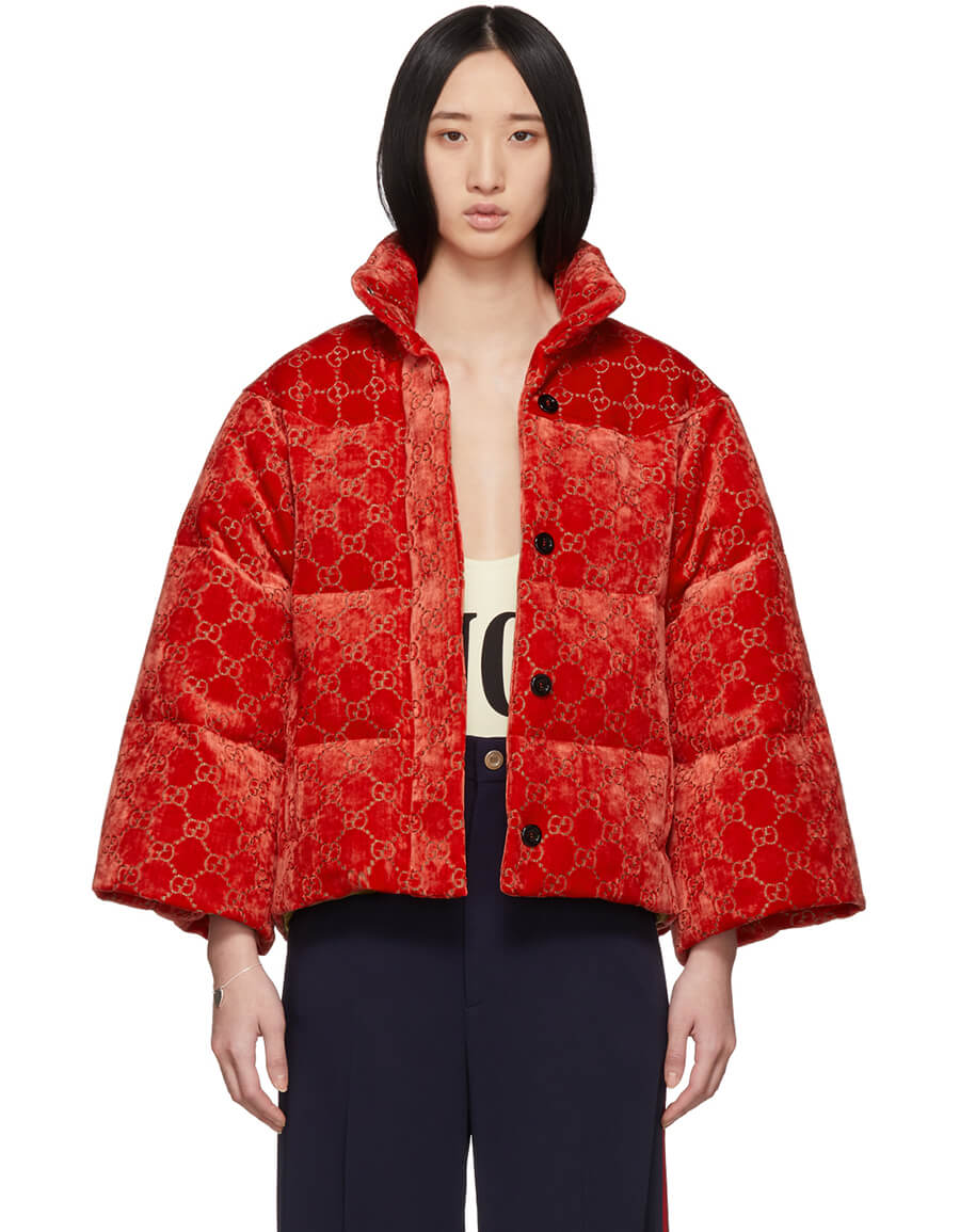 GUCCI Red Down GG Velour Cropped Jacket