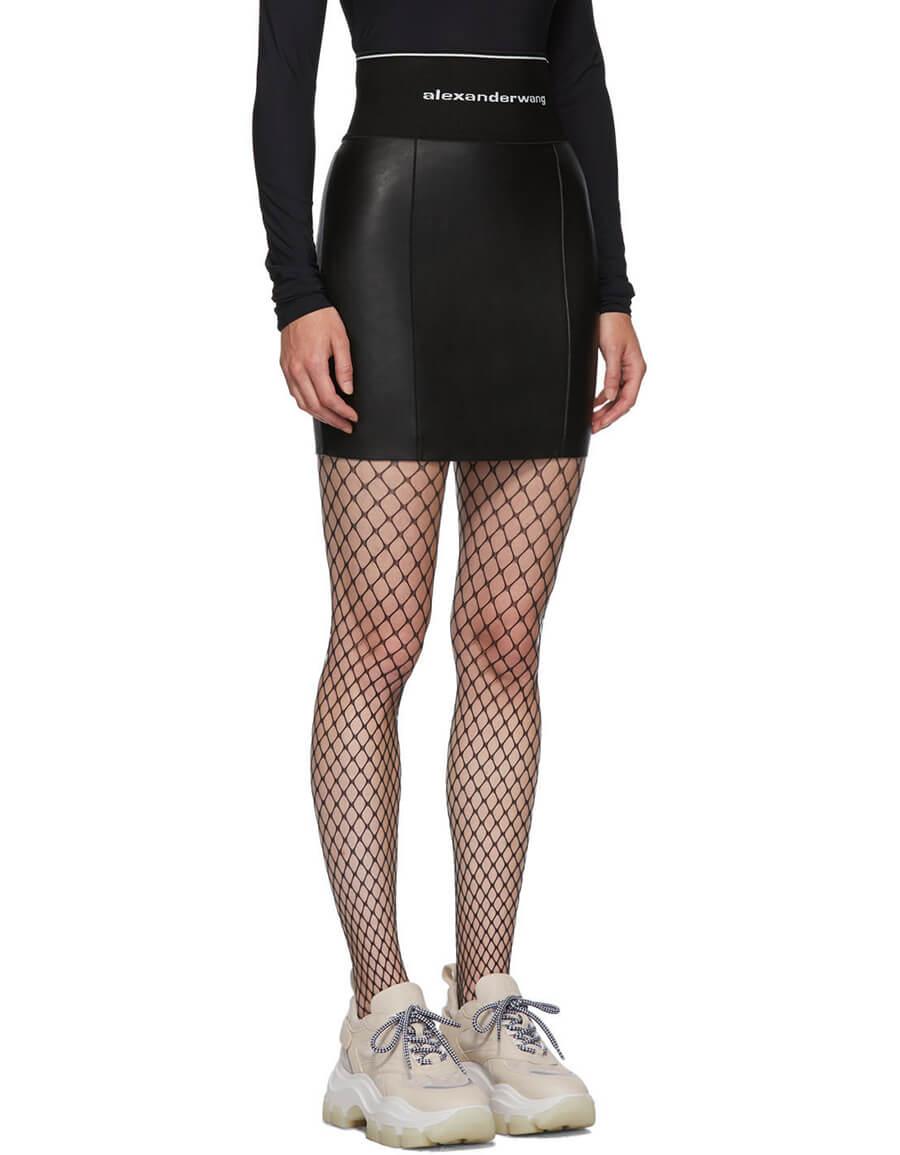 ALEXANDER WANG Black Stretch Leather Miniskirt