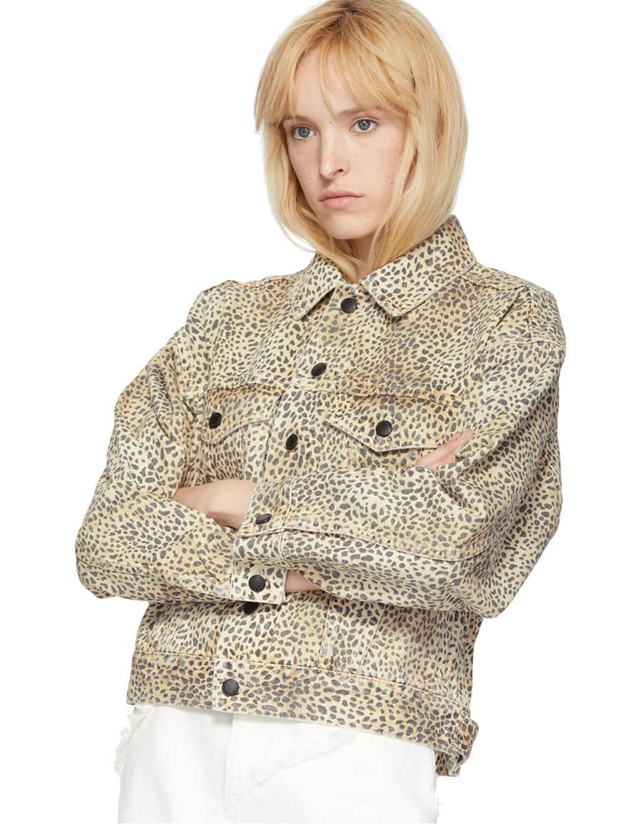 ALEXANDER WANG Tan Cheetah Denim Game Jacket