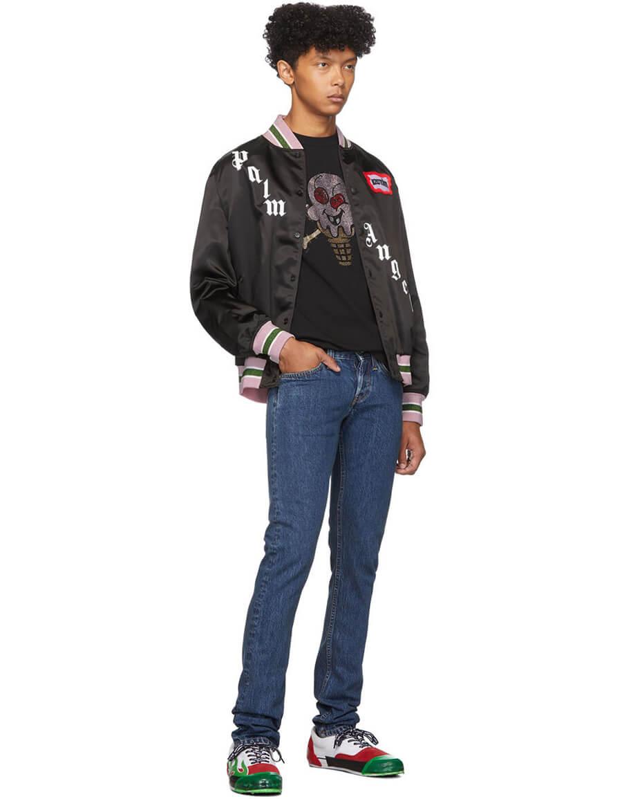 PALM ANGELS Black ICECREAM Edition Varsity Jacket