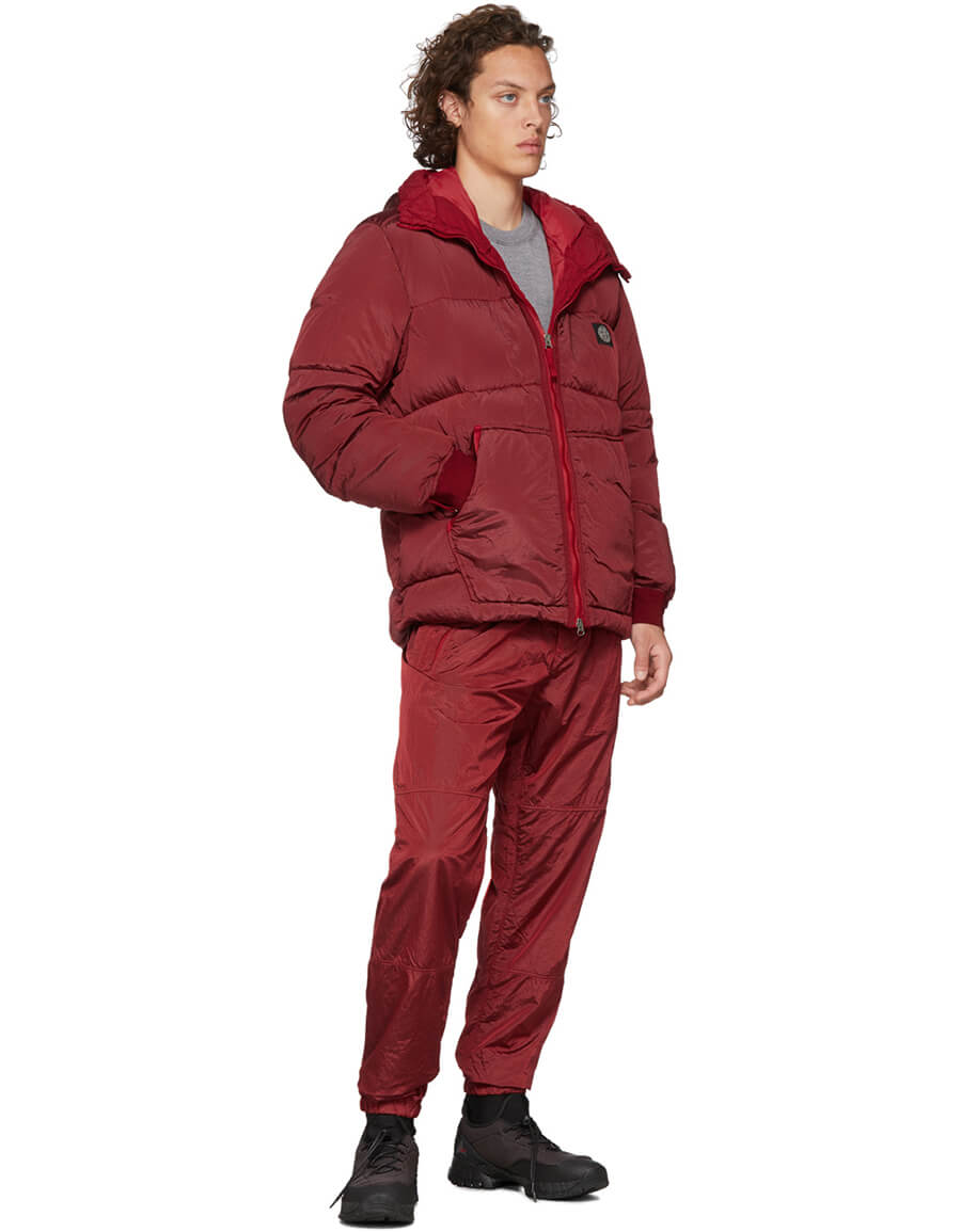 STONE ISLAND SSENSE Exclusive Red Down Hooded Puffer Jacket