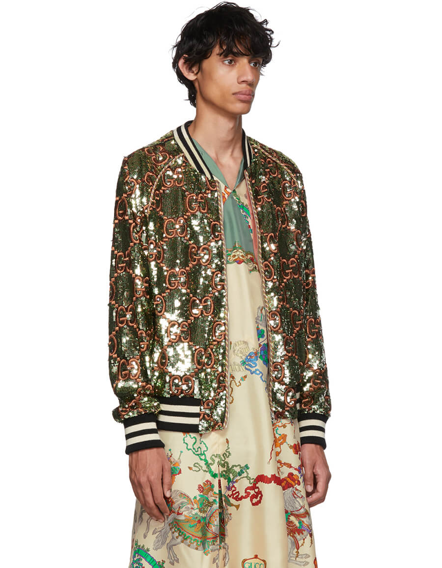 GUCCI Green GG Sequin Bomber Jacket