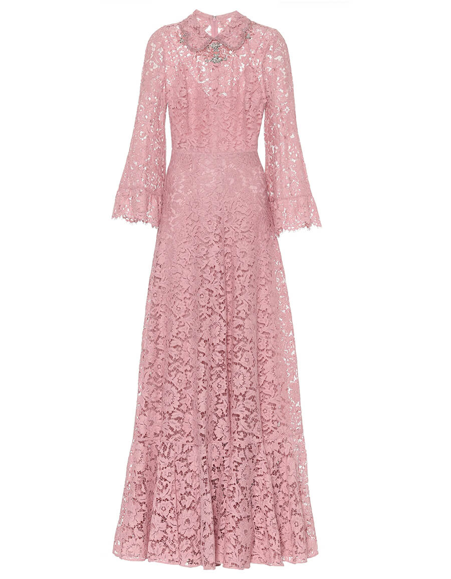 VALENTINO Embellished floral lace gown