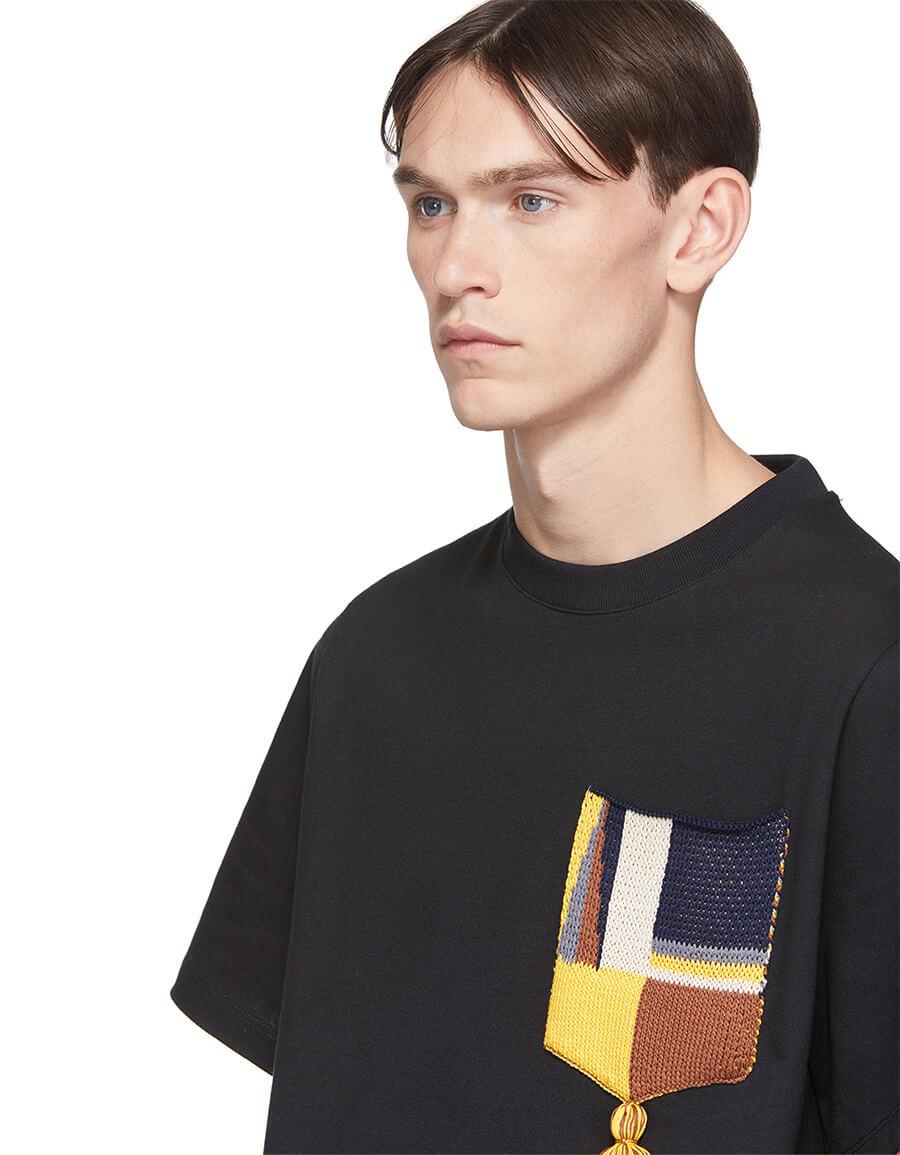 JIL SANDER Black Pocket Tassel T Shirt