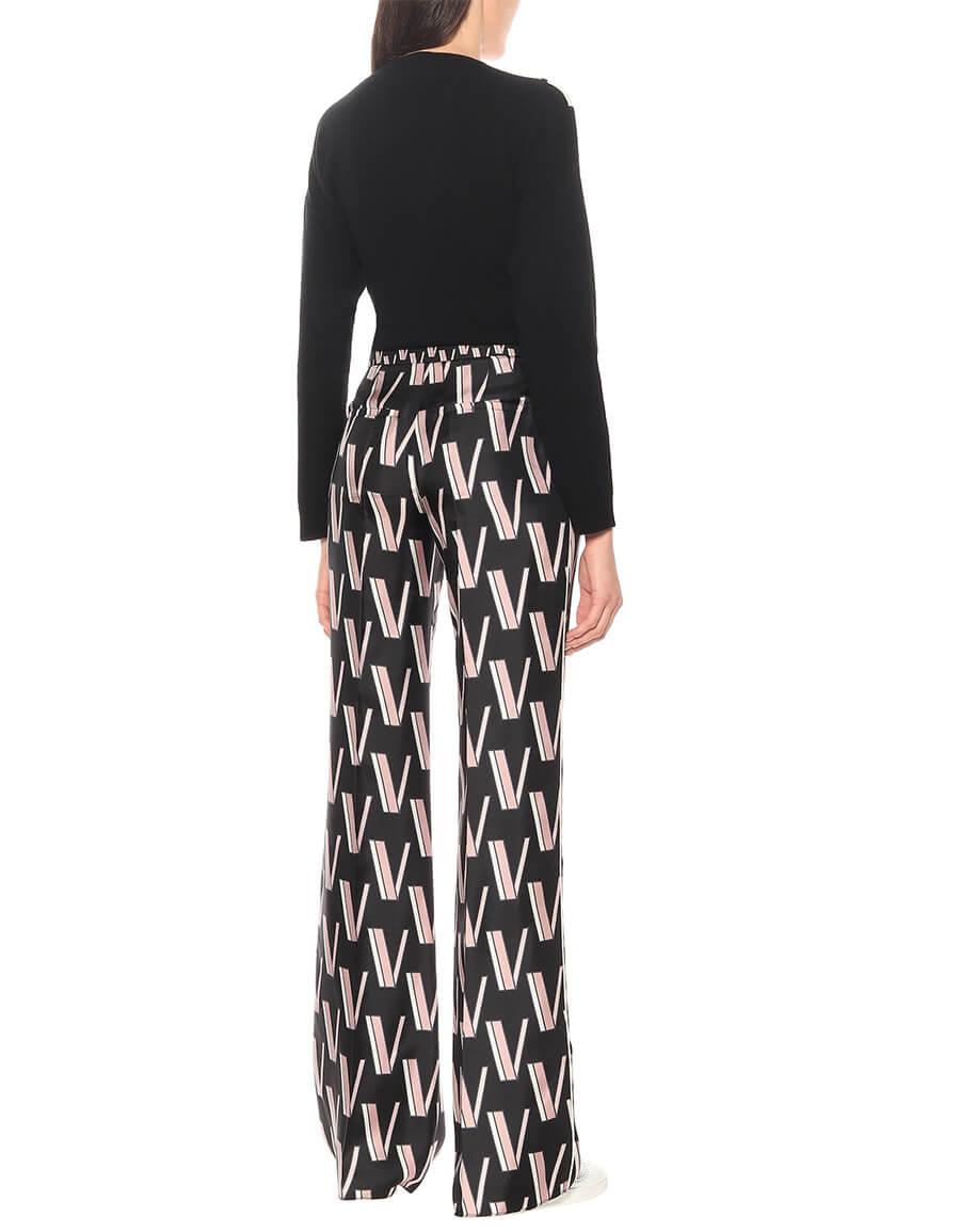 VALENTINO Silk twill logo pants