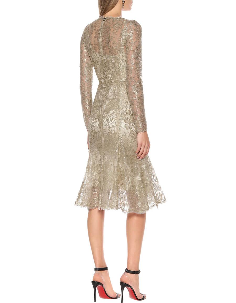 DOLCE & GABBANA Floral lace lamé dress