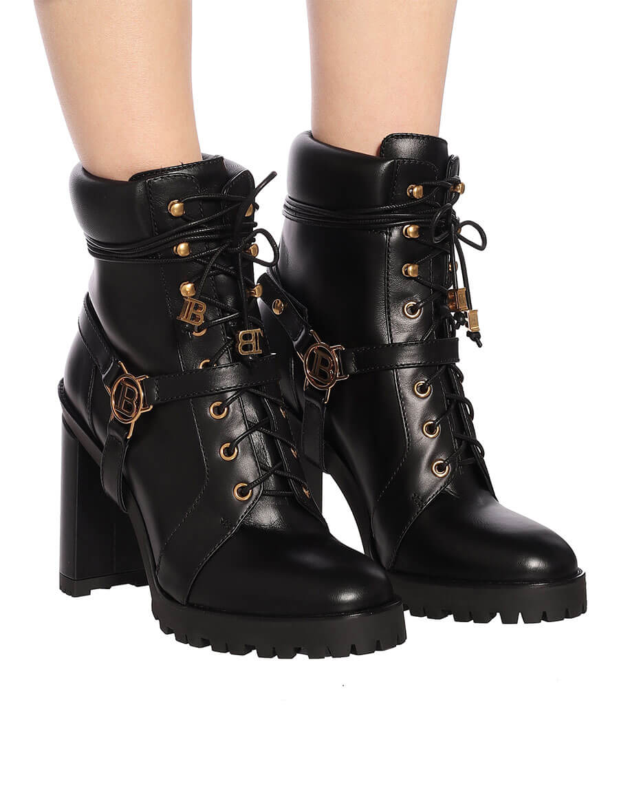 BALMAIN Embellished leather ankle boots