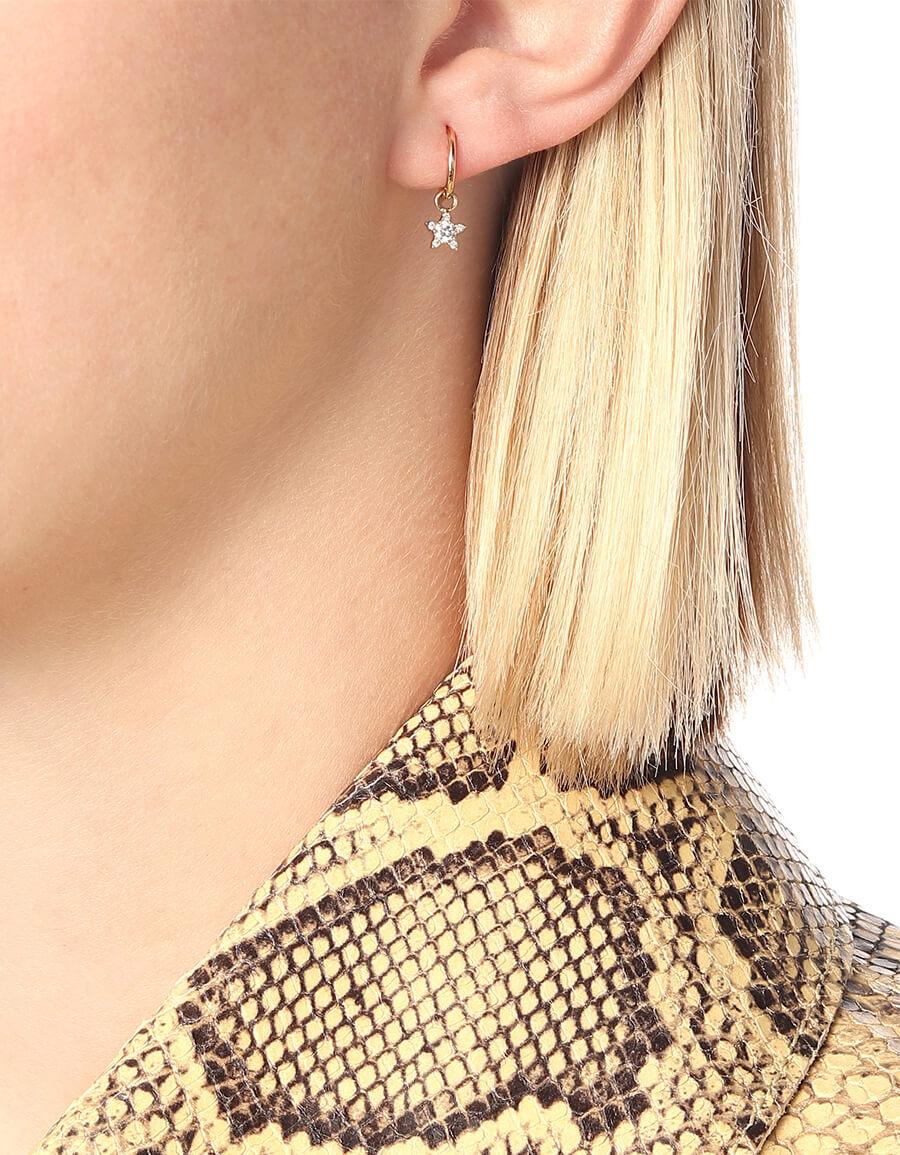 MARIA TASH 18kt gold single hoop earring with diamonds